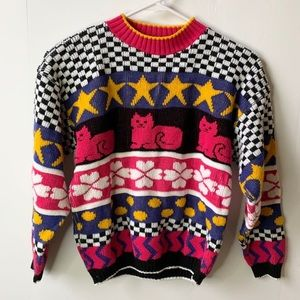 Vintage Checkered Cat Print Pullover Sweater